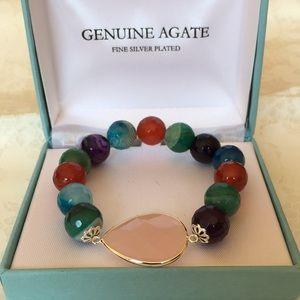 Genuine Multicolor Agate Bracelet